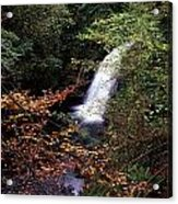 High Angle View Of A Waterfall, Glenoe Acrylic Print