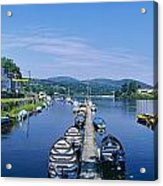 High Angle View Of Rowboats In The Acrylic Print