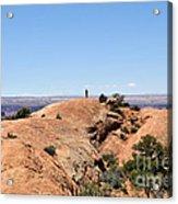 Hiker At Edge Of Upheaval Dome - Canyonlands Acrylic Print