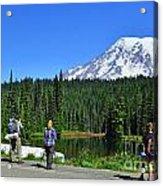 Hikers At Reflection Lake Acrylic Print