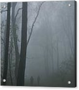 Hikers Enjoy A Foggy Outing On A Trail Acrylic Print