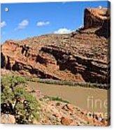 Hiking The Moab Rim Acrylic Print