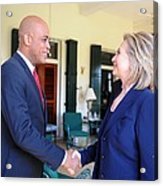 Hillary Clinton Meets With Haitian Acrylic Print