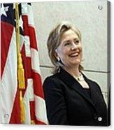 Hillary Clinton Speaks At The U.s Acrylic Print by Everett