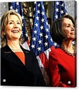 Hillary Clinton Stands With Speaker Acrylic Print