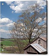 Hillside Weathered Barn Dramatic Spring Sky Acrylic Print