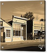 Historic Niles District In California Near Fremont . Main Street . Niles Boulevard . 7d10676 . Sepia Acrylic Print by Wingsdomain Art and Photography