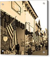 Historic Niles District In California Near Fremont . Main Street . Niles Boulevard . 7d10693 . Sepia Acrylic Print by Wingsdomain Art and Photography