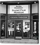 Historic Niles District In California Near Fremont . Niles Essanay Silent Film Museum . 7d10684 Bw Acrylic Print