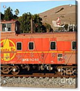 Historic Niles Trains In California . Old Sante Fe Caboose . 7d10832 Acrylic Print by Wingsdomain Art and Photography