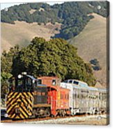Historic Niles Trains In California . Old Southern Pacific Locomotive And Sante Fe Caboose . 7d10818 Acrylic Print