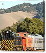 Historic Niles Trains In California . Old Southern Pacific Locomotive And Sante Fe Caboose . 7d10819 Acrylic Print