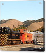 Historic Niles Trains In California . Old Southern Pacific Locomotive And Sante Fe Caboose . 7d10822 Acrylic Print