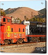 Historic Niles Trains In California . Old Southern Pacific Locomotive And Sante Fe Caboose . 7d10843 Acrylic Print