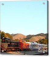 Historic Niles Trains In California . Old Southern Pacific Locomotive And Sante Fe Caboose . 7d10869 Acrylic Print by Wingsdomain Art and Photography