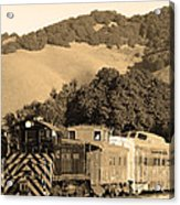 Historic Niles Trains In California.southern Pacific Locomotive And Sante Fe Caboose.7d10819.sepia Acrylic Print