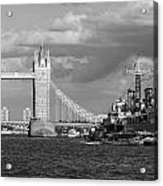 Hms Belfast And Tower Bridge Acrylic Print