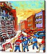 Hockey Art Kids Playing Street Hockey Montreal City Scene Acrylic Print