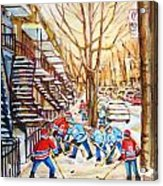Hockey Game Near Winding Staircases Acrylic Print