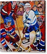 Hockey Game Scoring The Goal Acrylic Print by Carole Spandau