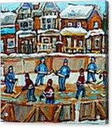 Hockey Rink Montreal Street Scene Acrylic Print by Carole Spandau