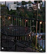 Holiday Deck At Dusk Acrylic Print by Lorraine Devon Wilke