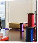 Holiday Ribbon On Table Acrylic Print