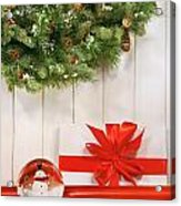 Holiday Wreath With Snow Globe  Acrylic Print by Sandra Cunningham