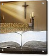 Holy Bible In A Church Acrylic Print