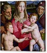 Holy Family With St Anne And The Infant St John The Baptist Acrylic Print by Agnolo Bronzino