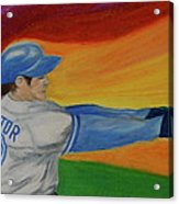 Home Run Swing Baseball Batter Acrylic Print by First Star Art