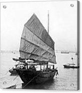Hong Kong Harbor - Chinese Junk Boat - C 1907 Acrylic Print