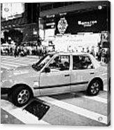 Hong Kong Red Taxi At Night On Nathan Road Downtown Kowloon Hong Kong Hksar China Acrylic Print