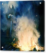Hooded Figure In A Mask By A Fire Acrylic Print