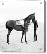 Horse And Man On The Beach Black And White Acrylic Print