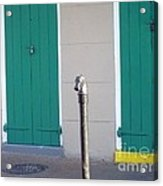 Horse Head Post With Green Doors Acrylic Print