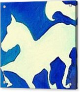Horse In Blue And White Acrylic Print