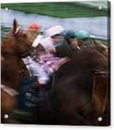 Horse Racing Horses Breaking From The Acrylic Print