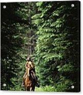 Horseback Riding On An Emerald Lake Acrylic Print