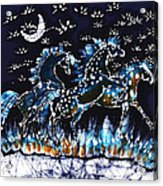 Horses Frolic On A Starlit Night Acrylic Print by Carol Law Conklin