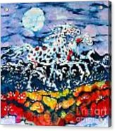 Horses Prance On Flower Field In Summer Moon Acrylic Print