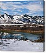 Horsetooth Reservoir Winter Scene Acrylic Print