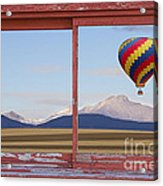 Hot Air Balloon And Longs Peak Red Rustic Picture Window View Acrylic Print