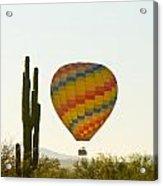Hot Air Balloon In The Arizona Desert With Giant Saguaro Cactus Acrylic Print