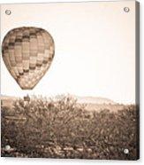 Hot Air Balloon On The Arizona Sonoran Desert In Bw  Acrylic Print