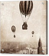 Hot Air Balloons Over 1949 New York City Acrylic Print