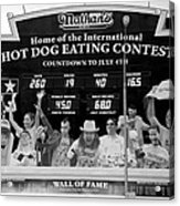 Hotdog Eating Contest Time In Black And White Acrylic Print