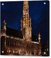 Hotel De Ville De Bruxelles At Night Acrylic Print