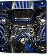 Hotrod Engine In Blue Acrylic Print