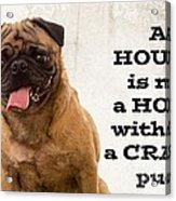 House Is Not A Home Without A Crazy Pug Acrylic Print